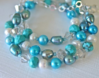 Turquoise Necklace with Aqua White Turquoise Pearls & Swarovski Crystals with Sterling Silver Metal Handmade in Maine by Kimberly