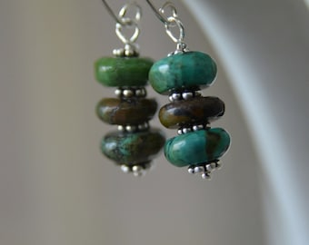 "Turquoise Earrings Gemstone Earrings Sterling Silver Earrings ""Simplicity"" Ready to Ship"