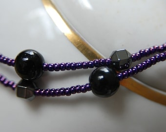Onyx and Hemetite Necklace with Purple Glass Seed Beads, Gemstone Necklace Handmade in Maine