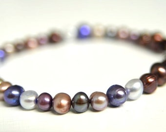 Purple Pearl Bracelet with Deep Red Crystals and Many Shades of Violet Handmade in Maine from North Atlantic Art Studio
