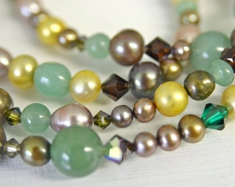 Green Aventurine and Freshwater Pearl Long Necklace with Swarovski Crystals Handmade in Maine