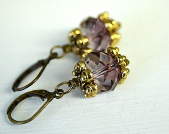 Pink Crystal Dangle Earrings with Antiqued Brass Lever Back Ear Wires Handmade in Maine