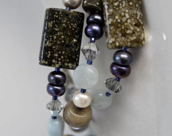 Natural Gemstone Necklace made with Aquamarine, Ocean Jasper, Lace Agate, Pearls and Crystals Handmade in Maine