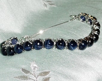 120 TCW Natural Deep Blue Star Sapphire gemstones, 14kt White Gold Bracelet w/ Safety Chain