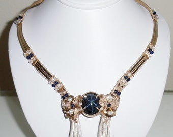 """51ct NATURAL 6 Star Sapphire gemstone, 14kt yellow gold 20"""" Necklace"""