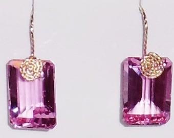 NATURAL 53 cts Octagon Mix cut Pink Topaz gemstones, 14kt yellow gold Pierced Earrings