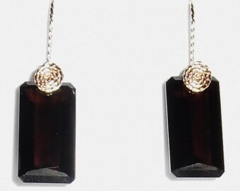 28 cts Natural Octagon Smokey Quartz gemstones, 14kt yellow gold Pierced Earrings
