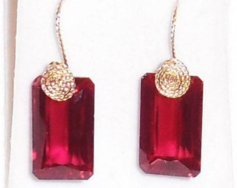 42 cts Natural Emerald cut Red Topaz gemstones, 14kt yellow gold Pierced Earrings