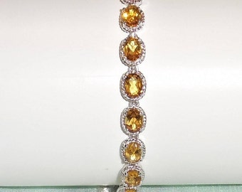 "Natural 7 x 5mm Rich Yellow Citrine gemstones, SOLID White Gold Box Safety Chain, Bracelet 8 1/2"" Total"