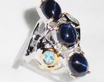 62 TCW Natural Deep Blue Star Sapphire gemstones, 14kt White, Yellow Gold, Silver Ring Size 7 1/2