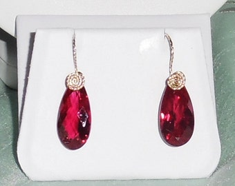 27 cts Natural Pear CKB Red Topaz gemstones, 14kt yellow gold Pierced Earrings
