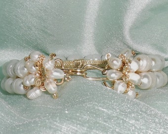 """Natural XLarge 16mm Freshwater Cultured Pearls, 14kt yellow gold Bangle Bracelet 8"""""""