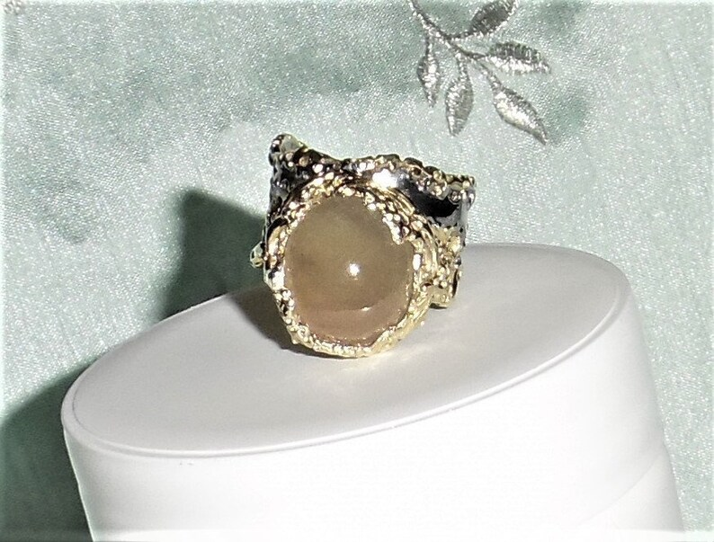 Black Rhodium Silver  Ring size 10 12 14kt yellow gold Ruby Ring Natural 20 x 17mm Soft Pink Ruby gemstone