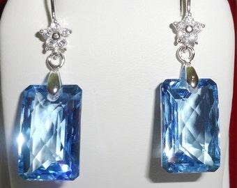 Natural 30 cts Cushion CKB cut Swiss Blue Topaz gemstones, solid Sterling Silver Pierced Earrings