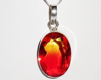CERTIFIED 63ct Natural 31 x 21 x 10mm Pinks, Yellow Tourmaline gemstone, SOLID Sterling Silver Pendant, Box Chain