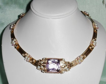 """Natural 54 ct Square CKB cut soft pink Topaz gemstone, 14kt yellow gold 18 1/2"""" Necklace"""