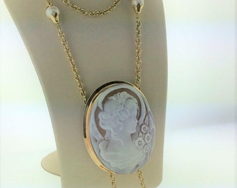 """HUGE ( 2 1/4"""") Art Nouveau Shell Cameo, SOLID 14kt Yellow Gold, 8mm White Pearl Tassel 33"""" Total Necklace, 24 grams"""