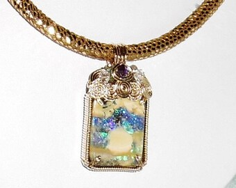 """34ct Australia Boulder Opal stone NATURAL 34ct Australian Polished Opal, 14kt yellow gold, Metallic Gecko Leather Cord 19"""" Necklace"""