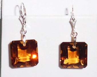 36ct Natural Emerald cut Madeira Citrine gemstones, Sterling Silver Leverback Earrings