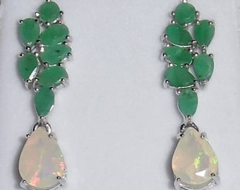 24TCW Natural Columbia Emerald, Ethiopia Opal gemstones, 14kt White Gold, Silver Stud Earrings