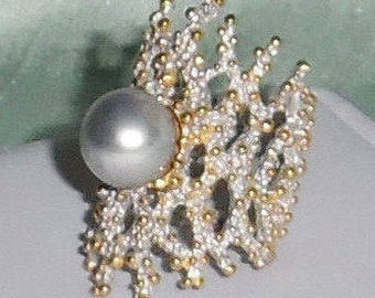 Natural 13mm Gray Tahitian cultured Pearl, 14kt white, yellow gold,  Silver Ring size 9 1/2 FREESIZE