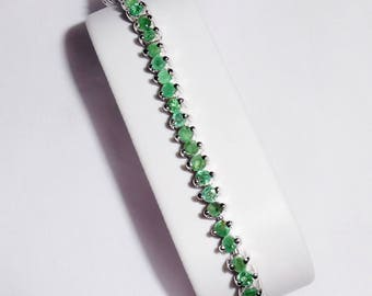"67TCW Natural Columbian Emerald gemstones, 14kt White gold, Sterling Silver Bracelet 7 1/2"""
