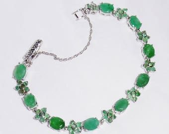 """80TCW Natural Columbian Emerald gemstones, SOLID 14kt White gold Safety Chain, Sterling Silver Bracelet 7 1/2"""""""