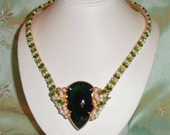 """Extremely RARE Natural 199 ct Pear Green Amethyst gemstone, 14kt yellow gold and Swarovski Crystals Necklace 21"""""""