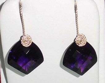 Purple Amethyst Earrings Natural 33 cts Fancy Deep Rich Purple Amethyst gemstones, 14kt yellow gold Pierced Earrings