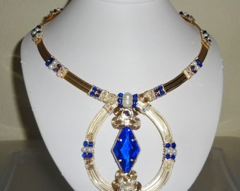 """Natural 48ct Fancy cut Swiss Blue Topaz gemstone, 14kt yellow gold Omega Necklace 19"""""""