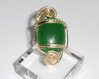 28ct Natural China Cabochon Green Jade gemstone, 14kt yellow gold ring size 8 1/2 FREE SHIPPING