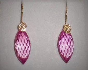 42cts Natural Briolette cut Pink Topaz gemstones, 14kt yellow gold Pierced Earrings