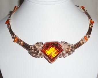 "Natural 68 ct Fancy CKB cut Orange Citrine gemstone, 14kt yellow gold 19"" Necklace"