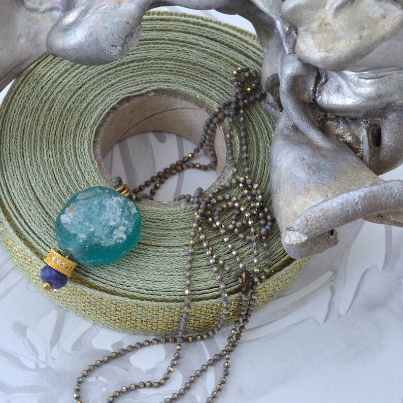 View of Bleu Roman Glass Necklace