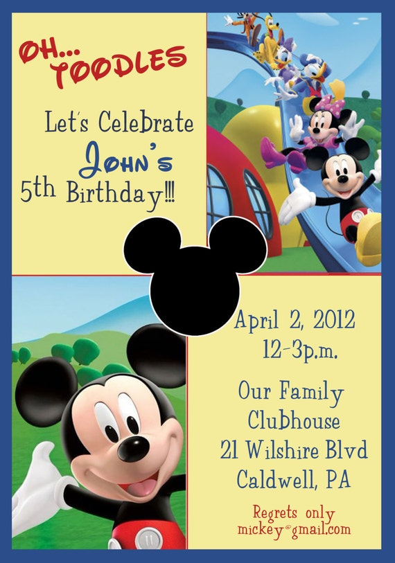 Mickey Mouse Clubhouse Birthday Invitations Mickey Mouse Etsy