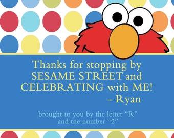 Elmo favor tags, birthday favor tag elmo, sesame street tags, diy print elmo labels, elmo party tags, elmo birthday labels, food labels