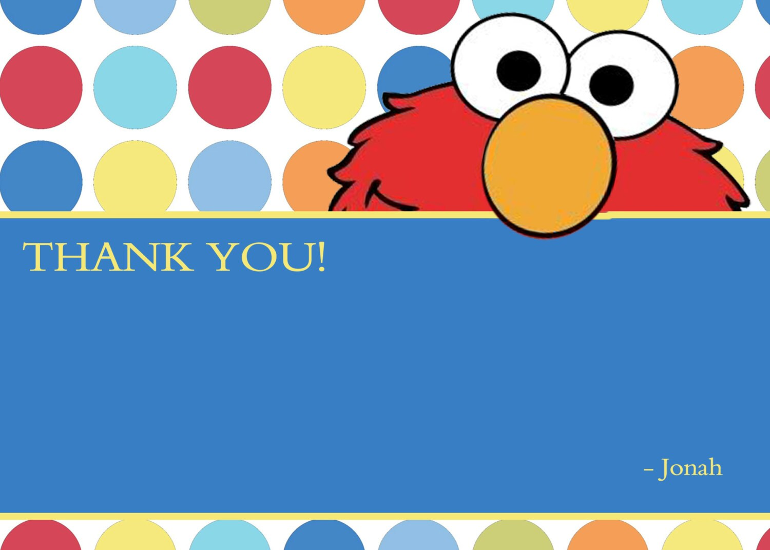 Elmo Blank Thank You Notes Cards Polka