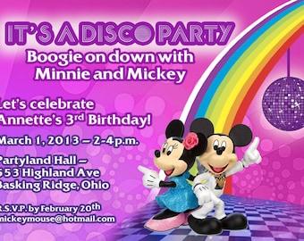 Disco Minnie and MIckey Party Invitations, Mickey Invitations, Minnie Birthday INvitations, Mickey and Minnie Invitations