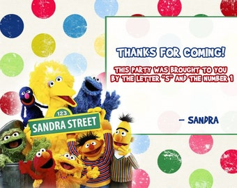 Sesame street labels, party food labels. Sesame street birthday favor tags, cookie monster tags, sesame street birthday
