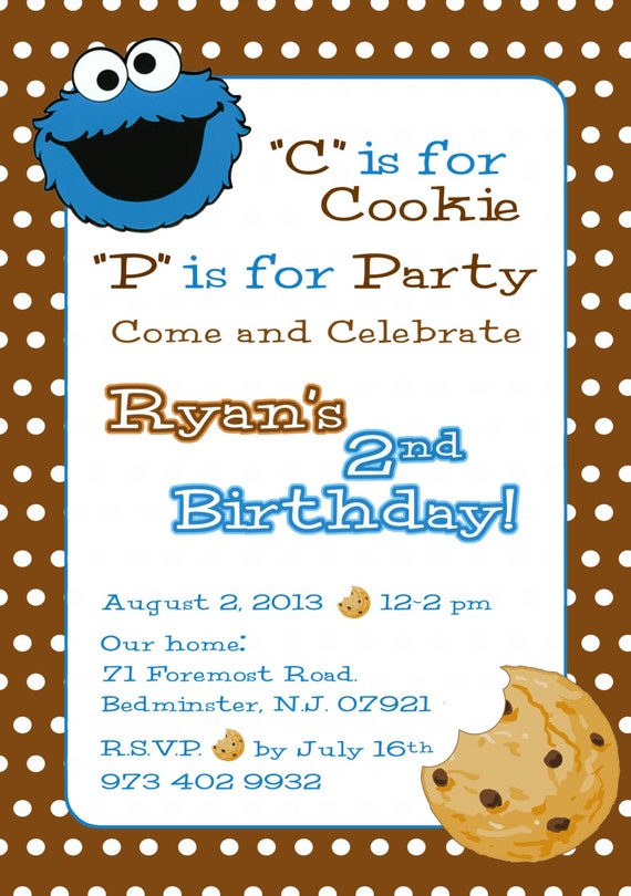 Cookie Monster Invitation Sesame Street Invite Cookie Etsy