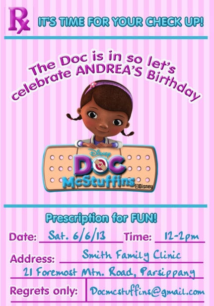 graphic about Doc Mcstuffins Printable Invitations referred to as Document McStuffins Invitation- Document McStuffins Birthday Invitation-Printable Invitation, Do-it-yourself electronic document-Document McStuffins RX invite