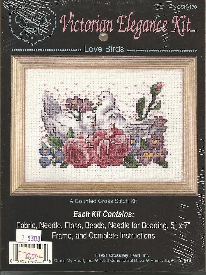 Vintage Cross My Heart Victorian Elegance Cross Stitch Kit Love Birds