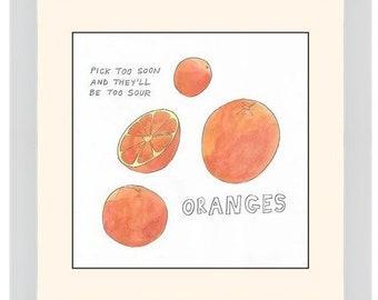 "Original Watercolor: ""Oranges"" Series Nosh Words"