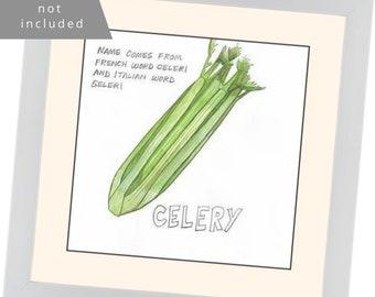 """Original Watercolor: """"Celery"""" Series Nosh Words"""