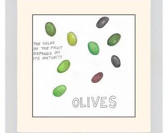 "Original Watercolor: ""Olives"" Series Nosh Words"