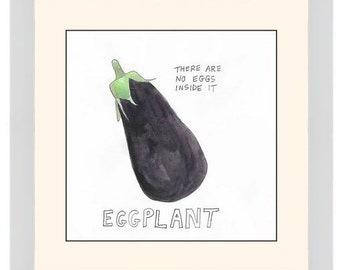 "Original Watercolor: ""Eggplant"" Series Nosh Words"