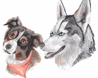 Custom Pet Portrait: Watercolor Painting + Digital File