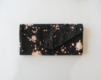 Handmade Hand Dyed Trifold Wallet Bleach Dye Billfold Black Canvas Wallet Vegan Heavy Duty Clutch