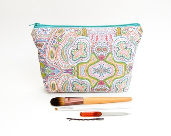 Rainbow Abstract Print - Colorful Organic Drawing Makeup Bag - Large Zipper Pouch - Cosmetic Case