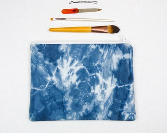 Shibori Makeup Bag - Dark Blue Pouch - Hand Dyed Zipper Pouch - Cosmetic Bag - Indigo Shibori Large Pencil Case - Boho Bag